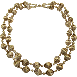 Vendome Shimmery Gold-tone Ball Necklace