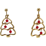 Avon Dangling Christmas Tree Earrings - Book Piece