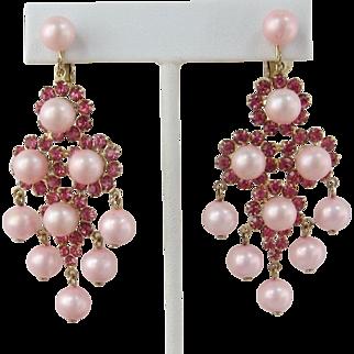 Pink Imitation Pearl and Rhinestone Dangling Earrings