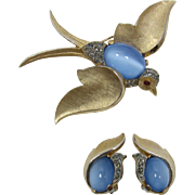 "Trifari 1960's ""Fantasies"" Blue Moonstone Bird Brooch and Earrings"