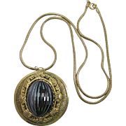 Large Gold-tone Medallion Style Pendant with Huge Hematite Inset