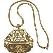 Kenneth J Lane Gold-tone Asian  Planter Pendant Necklace