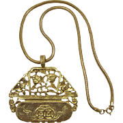 Kenneth J Lane Gold-tone Oriental  Planter Pendant Necklace