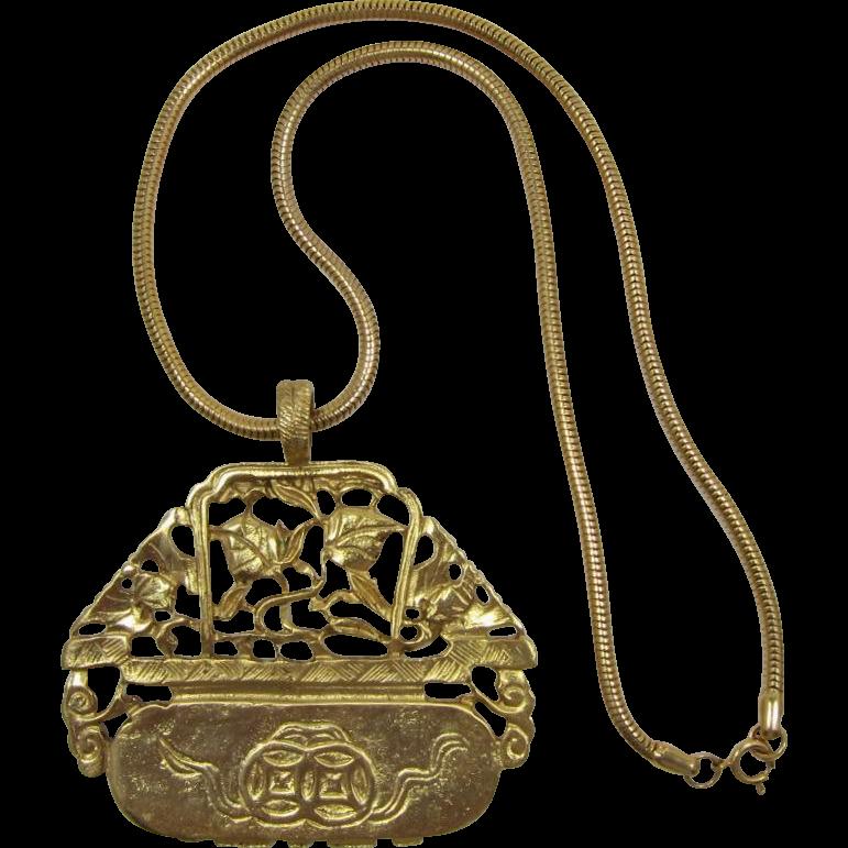 Kenneth J Lane Gold-tone Oriental  Planter Pendant Necklace