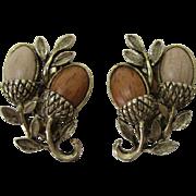 "Two Tone ""Wood"" Acorn Earrings"