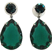 Large Emerald Green Pear-Shaped Rhinestone Pierced Earrings