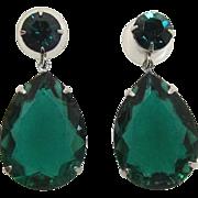 Large Emerald Green Pear-Shaped Rhinestone Pierced Earrings