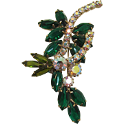 Sparkling Emerald and Olivine Green Spray Brooch
