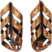 Renoir Copper Modernistic Earrings