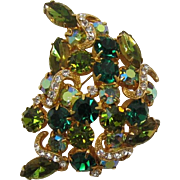 Emerald Green, Olivine Green and Peridot Green Rhinestone Brooch