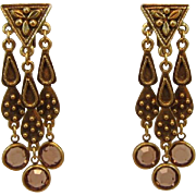 Antique Gold-tone Long Dangling Earrings - Unsigned Goldette