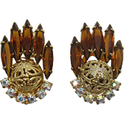 DeLizza and Elster Juliana Smoky Topaz Navette and Filigree Ball Earrings