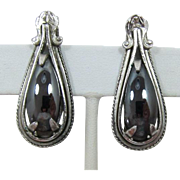 Elegant Whiting & Davis Elongated Hematite Earrings