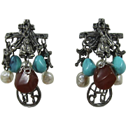 Gunmetal Buddha Dangling Earrings with Imitation Pearls and Turquoise Beads