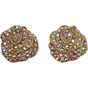 Pink Aurora Borealis Rhinestone Flower Earrings