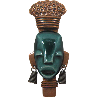 Cool Mid-Century Modern Teal Ceramic and Copper Face Pin