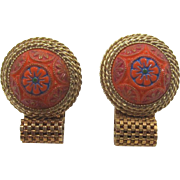 Orange-Coral Moroccan Matrix Cufflinks