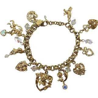 Gorgeous Kirk's Folly Medieval Motif Bracelet with Heart Charms