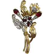 Beautiful 1930's Clear and Red Rhinestone Flower Bouquet Brooch