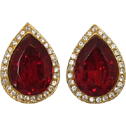 Large Ruby-Red Pear-Shaped Rhinestone Earrings