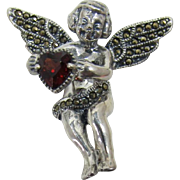 Judith Jack Angel with a Heart Sterling and Marcasite Pin