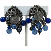 """Napoleon Bonaparte"" Gunmetal and Blue Rhinestone Dangling Charm Earrings"