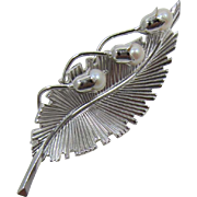Beautiful Reis Co. (C.R. Co.) Sterling and Cultured Pearl Pin