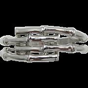 "Trifari Silver-tone ""Bamboo"" Hinged Bracelet"