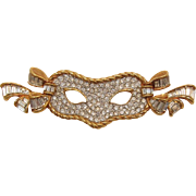 Beautiful Swarovski Theater or Ball Rhinestone Mask Brooch