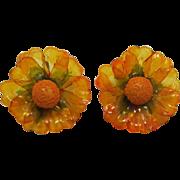Topaz-Amber Cellulose Acetate Flower Earrings