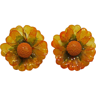Topaz-Amber Cellulose Acetate Flower Earrings