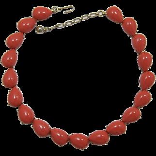 Trifari Large Coral Colored Cabochon Necklace