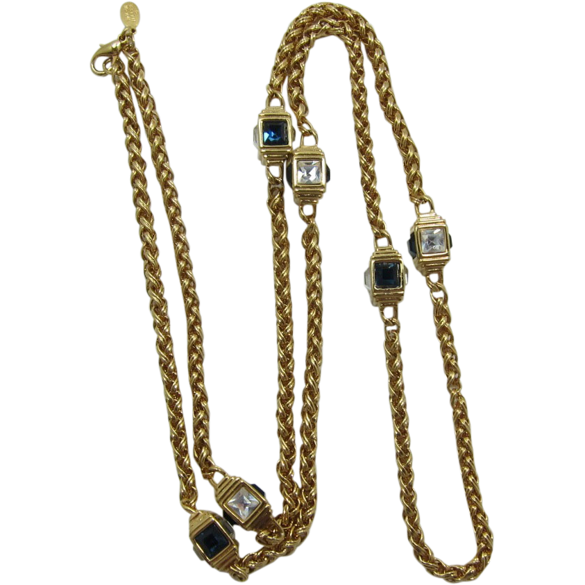 nolan miller chain necklace with blue and clear