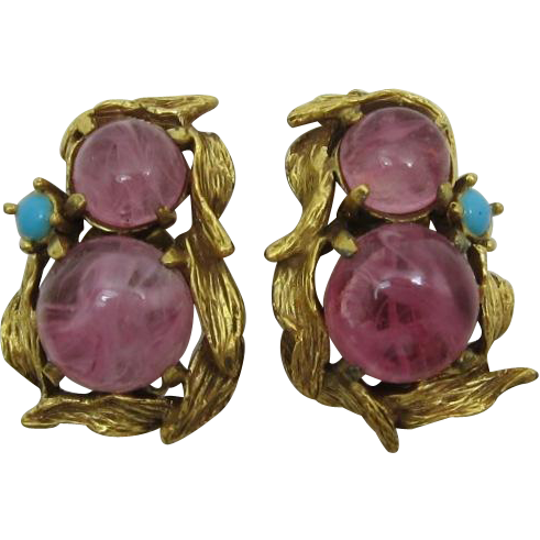 Lucious Swirled Pink Glass Cabochon Earrings