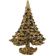 Sparkling Eisenberg Gold-tone and Green Rhinestone Christmas Tree Pin - Book Piece