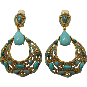 Stunning Signed Barrera Faux Turquoise Cabochons Dangling Earrings