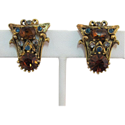 Hollycraft Earrings with Smokey-Topaz and Blue Rhinestones