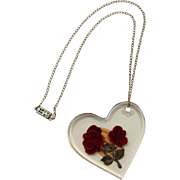 Bircraft Lucite Reverse Carved Double Roses Pendant Necklace