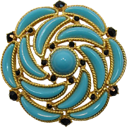 DeLizza and Elster - Juliana Turquoise Plastic Crescent Brooch - Book Piece