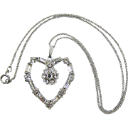 Brilliant Clear Rhinestone Heart-Shaped Pendant with Stanhope Lord's Prayer