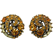 Vibrant Hollycraft Earrings with Topaz and Yellow Rhinestones
