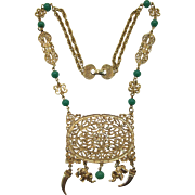 Unsigned Goldette Filigree Style Necklace with Dangling Elephants and Tusks
