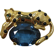 Reclining Tiger Brooch with Huge Sapphire Blue Rhinestone