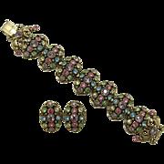 Selro Large Pastel Rhinestone Bracelet and Earring Set