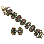 Selro Large Pastel Rhinestone Bracelet and Earring Set