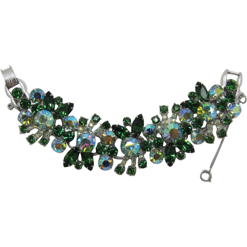 D&E Juliana Wide and Glittery Green Rhinestone Bracelet