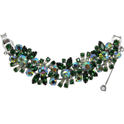 Glitzy D&E Juliana Wide Green Rhinestone Bracelet