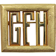 """Old Initial or Monogram Pin """"GFH"""" - Changeable"""