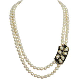 Trifari Two Strand Pearl Necklace with Black Enameled Enhancer