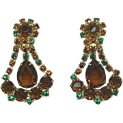 Smoky Topaz and Green Rhinestone Dangling Earrings